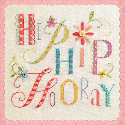 Embroidered typography – 'Sew Happy' Paper Rose